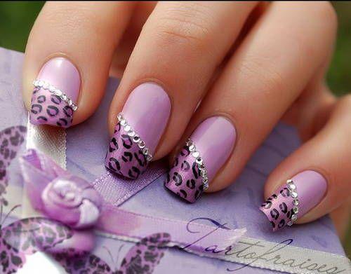 Purple Leopard Nail Design