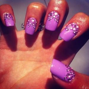 Purple Nail Art with Rhinestones
