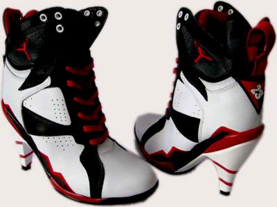 Red White and Black Jordan High Heels