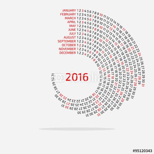 Round Calendar Template 2016