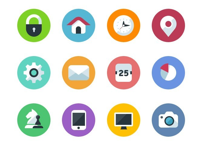 Round Flat Icons Vector