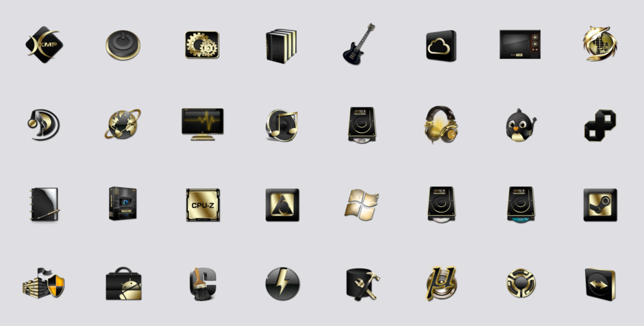 Social Media Icons Black and Gold