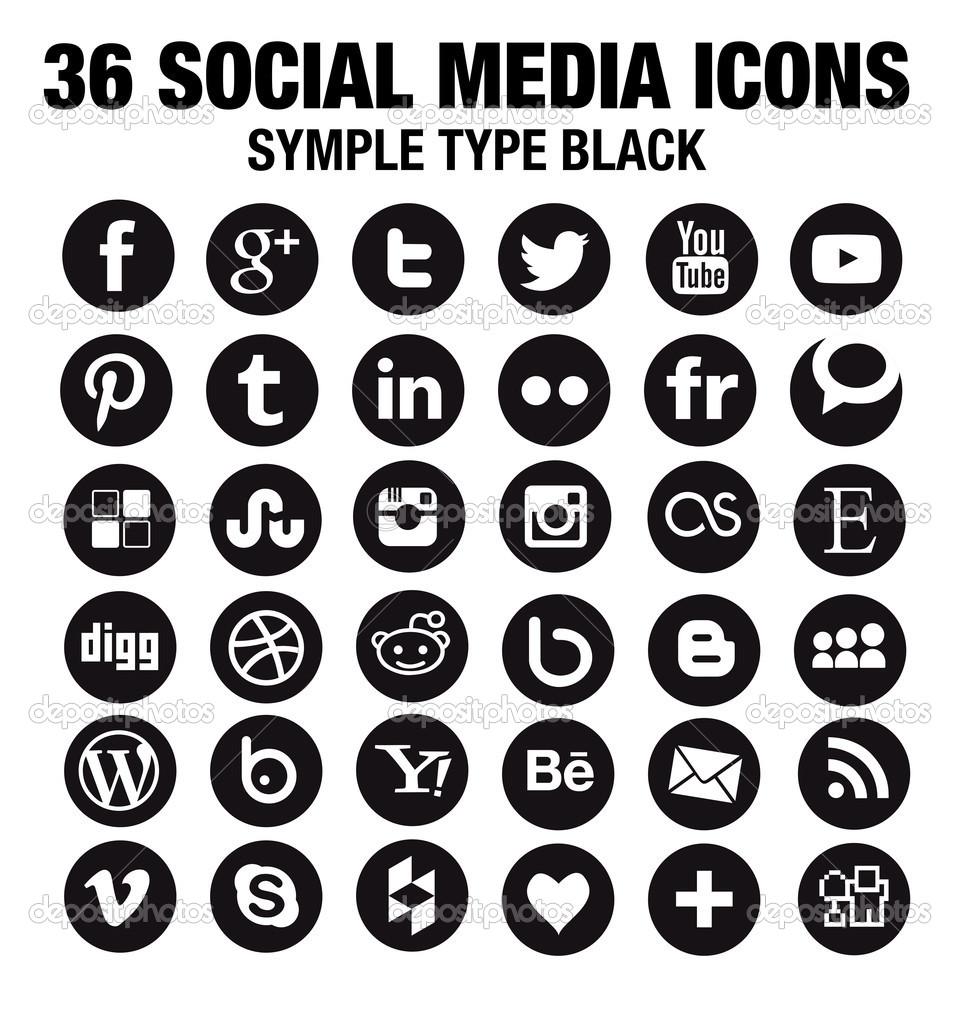 Social Media Icons Black