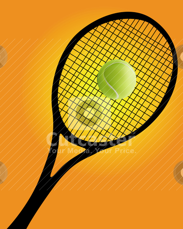 Tennis Racket and Ball Silhouette