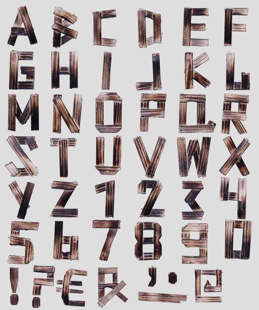 16 Burnt Wood Font Images