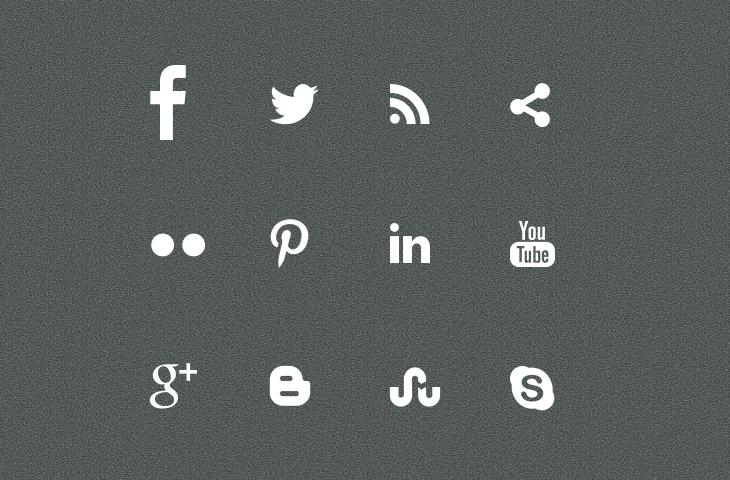 12 Social Media Icons White Images