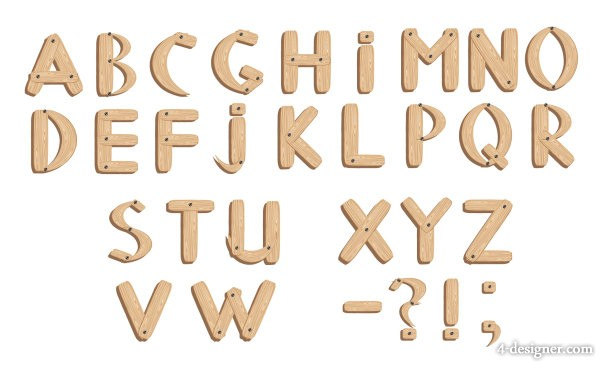 Wood Grain Font Letters
