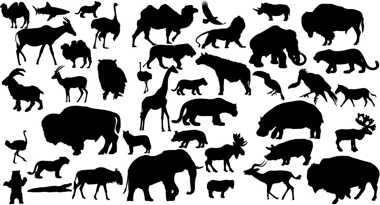 12 Animal Silhouettes Vector Free Images
