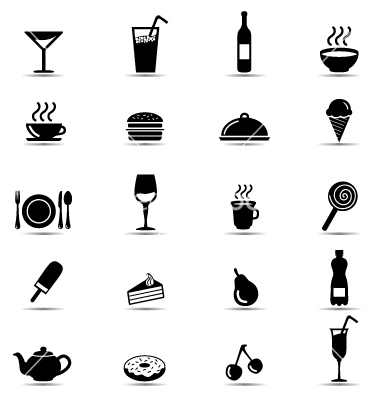 12 Black And White Food Vector Images