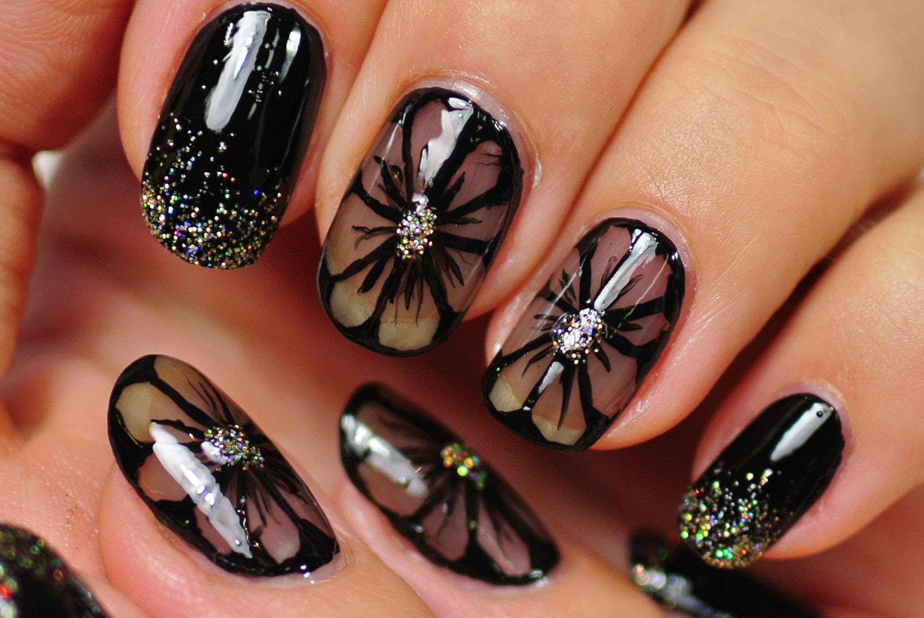 11 Black Flower Nail Designs Images