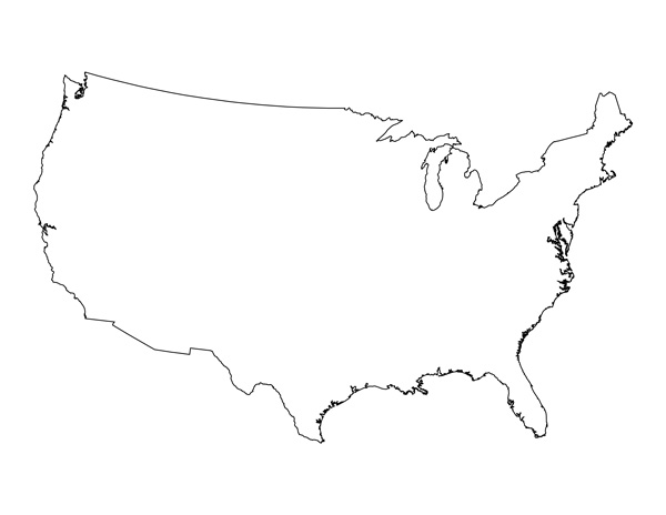 USA Map Outline Template Images United States Outline - Usa maps blank