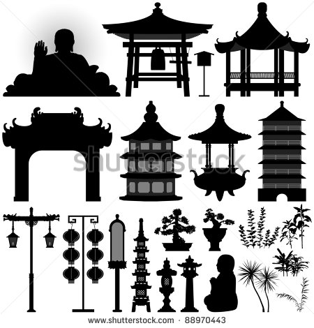 Chinese Temple Silhouette