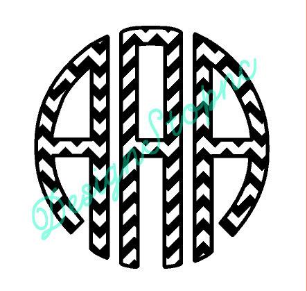 Circle Monogram Font Silhouette