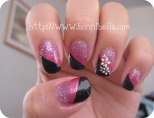 Cute Design Nail Pink Black and White