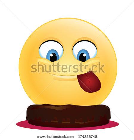 Emoticon Eating Chocolate Cake