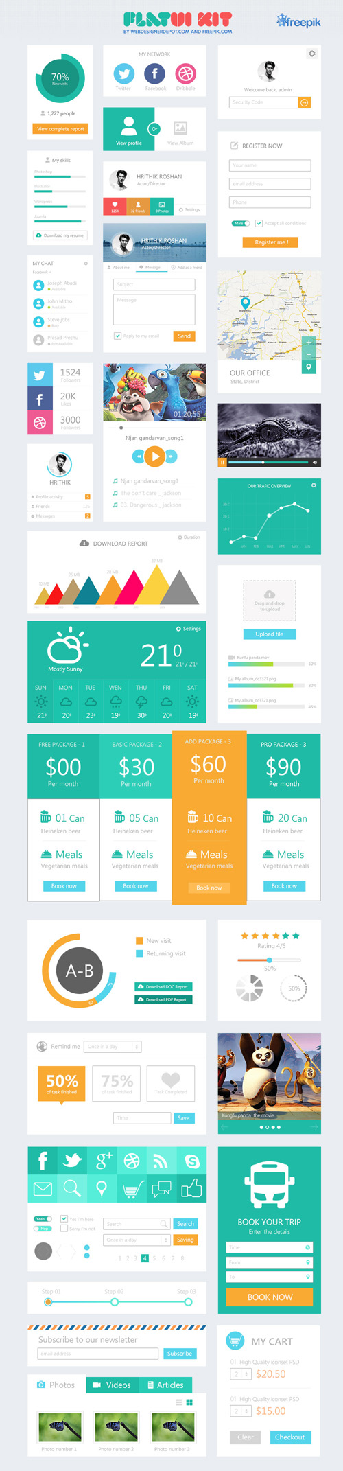 12 Flat Mobile UI Design PSD Images