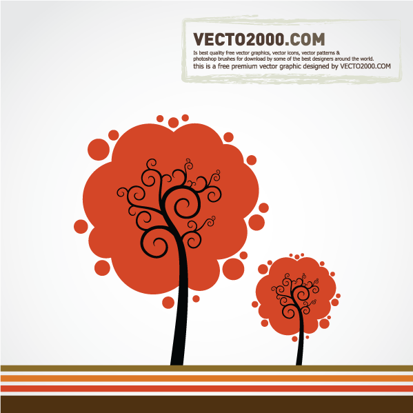 12 Retro Tree Vector Image PNG Images