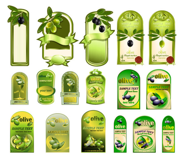 Free Vector Olive Oil Labels for Bottles