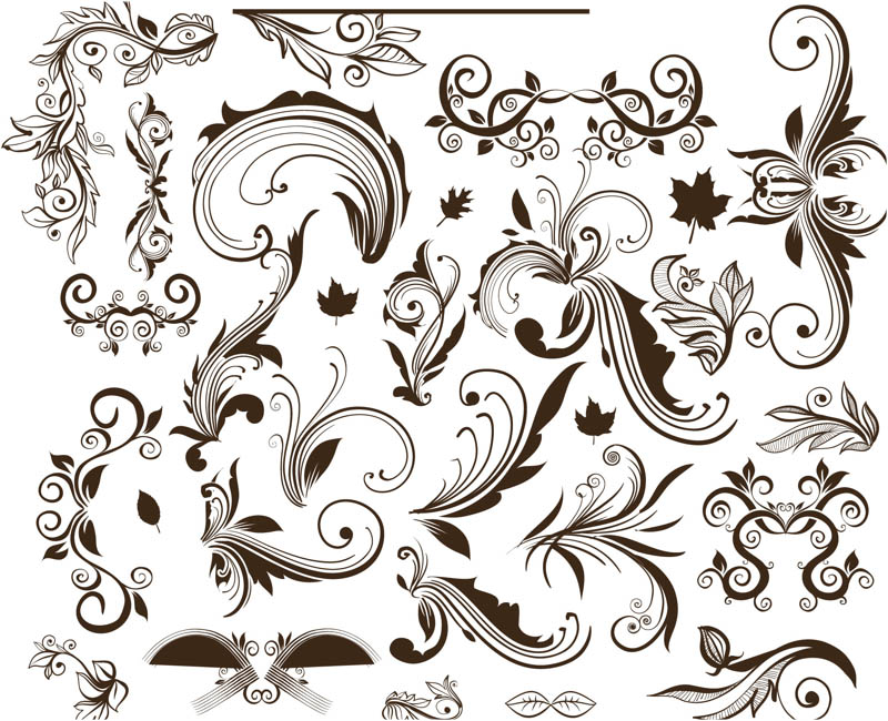 Graphic Floral Swirl Vector