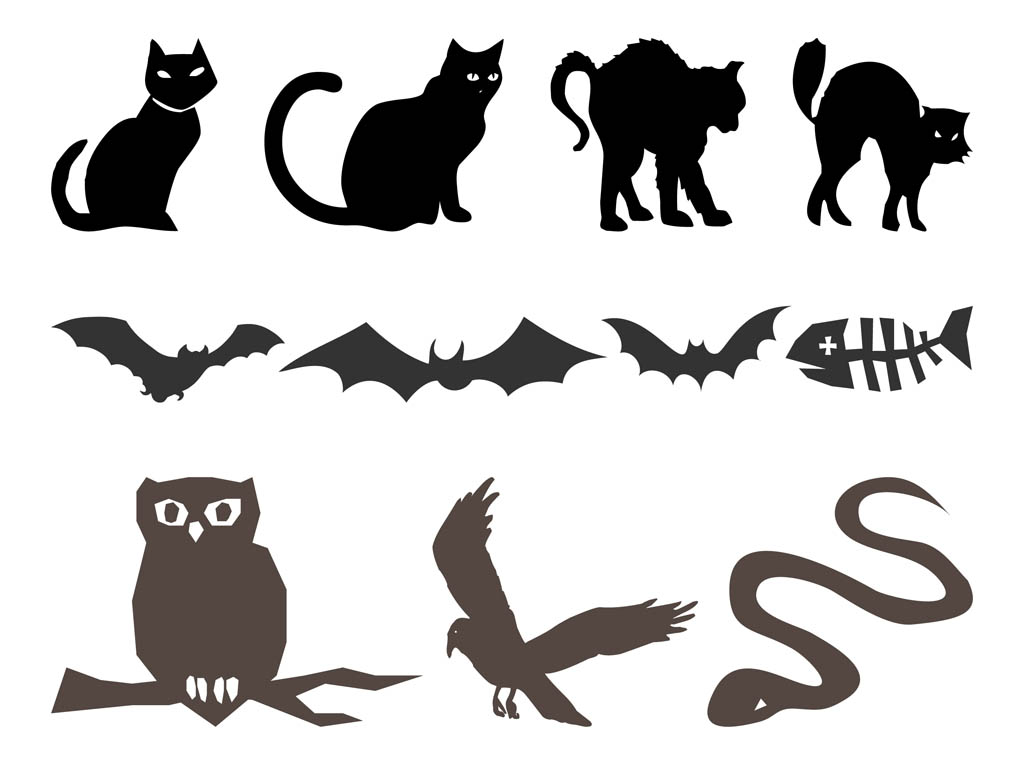 Halloween Silhouettes Animals