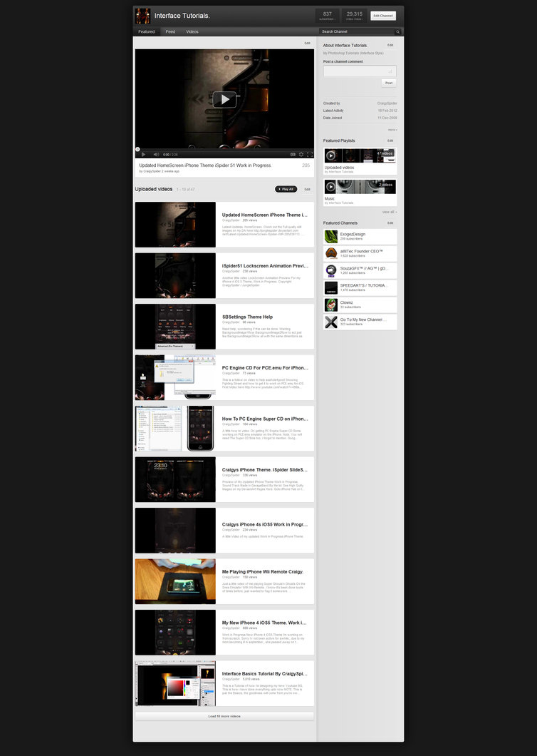 New YouTube Layout Template PSD