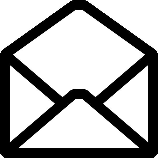 Open Envelope Clip Art Black and White