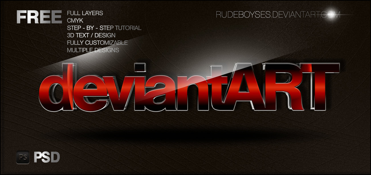 Photoshop 3D Text PSD Free Download