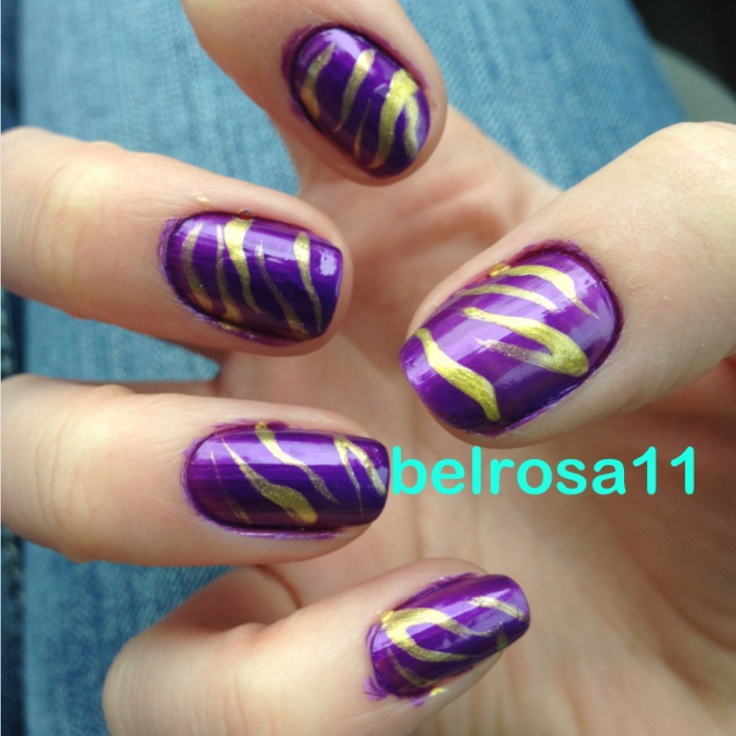 15 Purple Tiger Print Nail Designs Images - LSU Nail Art, Tiger ...