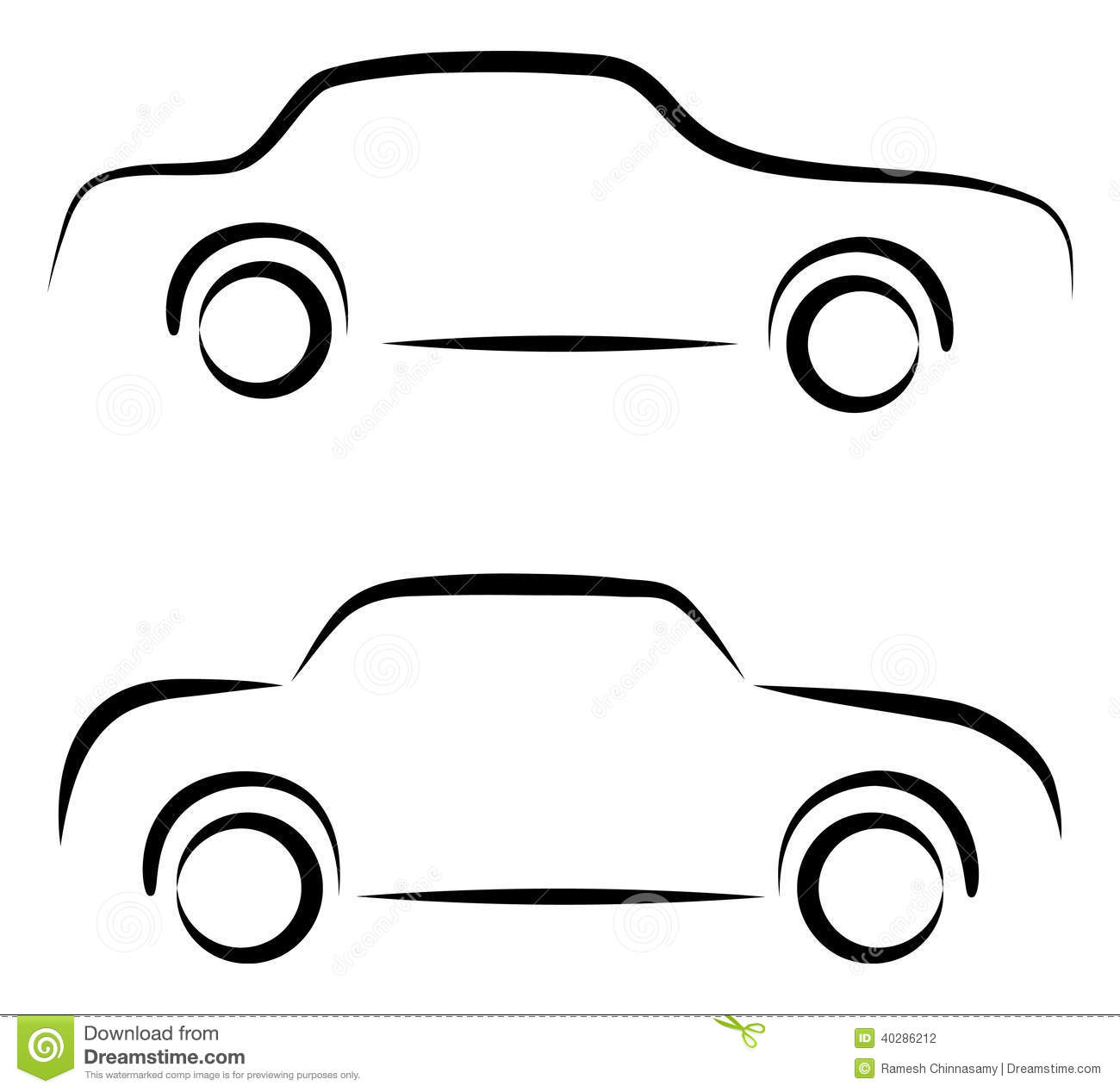 Simple Vector Line Art : Simple car vector images icon