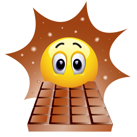 Smiley Emoticons Eating Chocolate