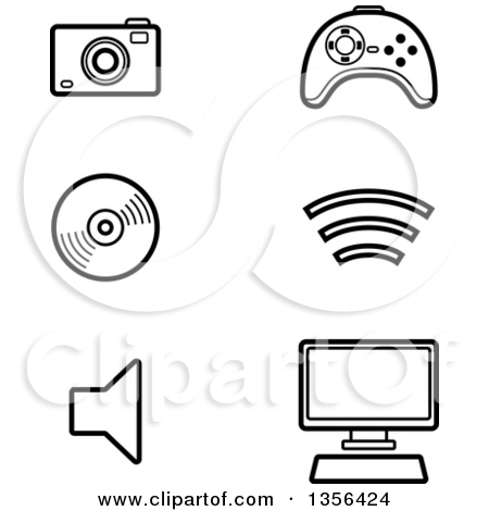 Technology Icons Black and White