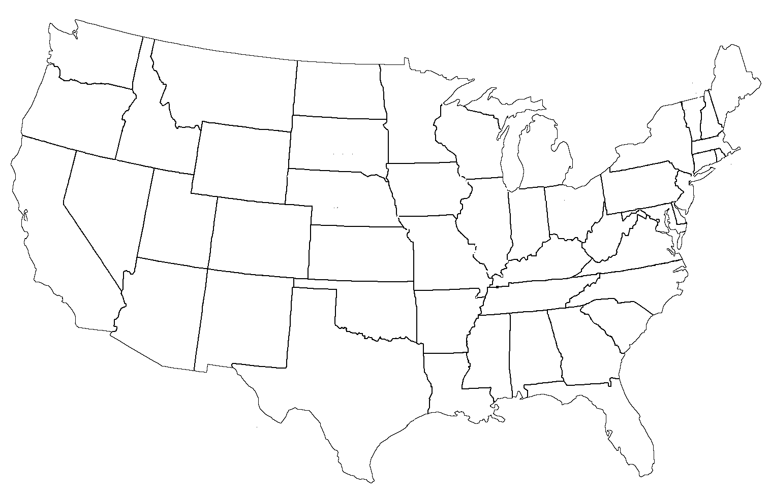 Us State Map Outline - Us outline map printable