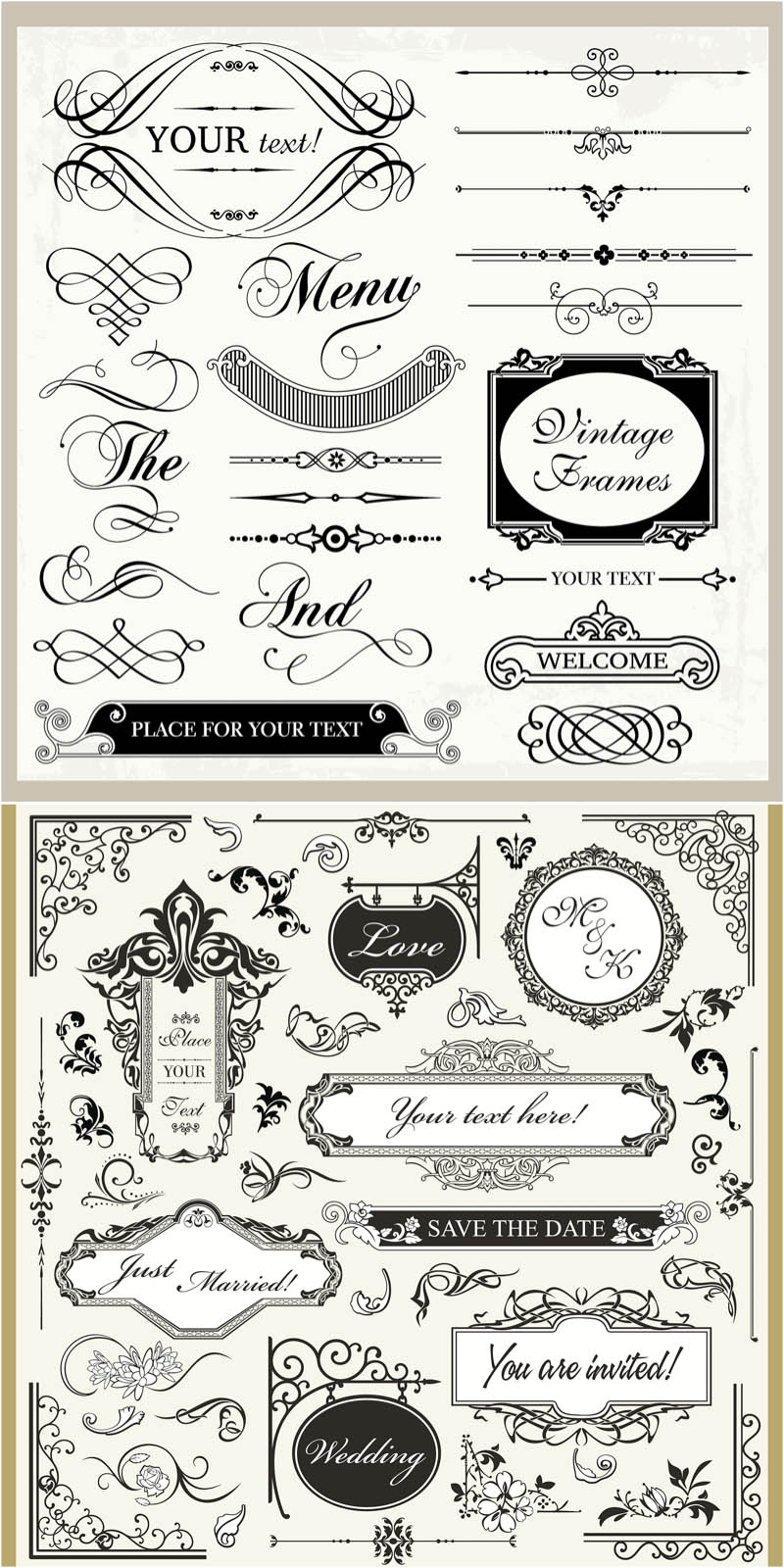 13 Wedding Border Vector Images