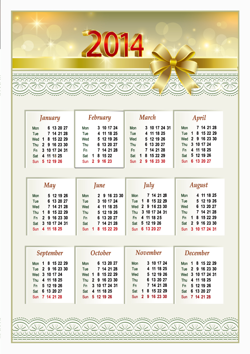 12 2014 Calendar Vector Free Images