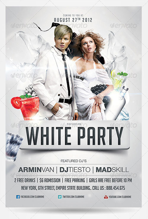 19 White Party Flyer PSD Images
