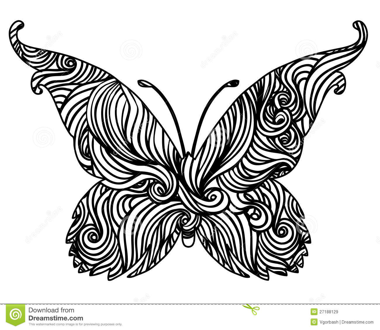 Black and White Abstract Butterfly
