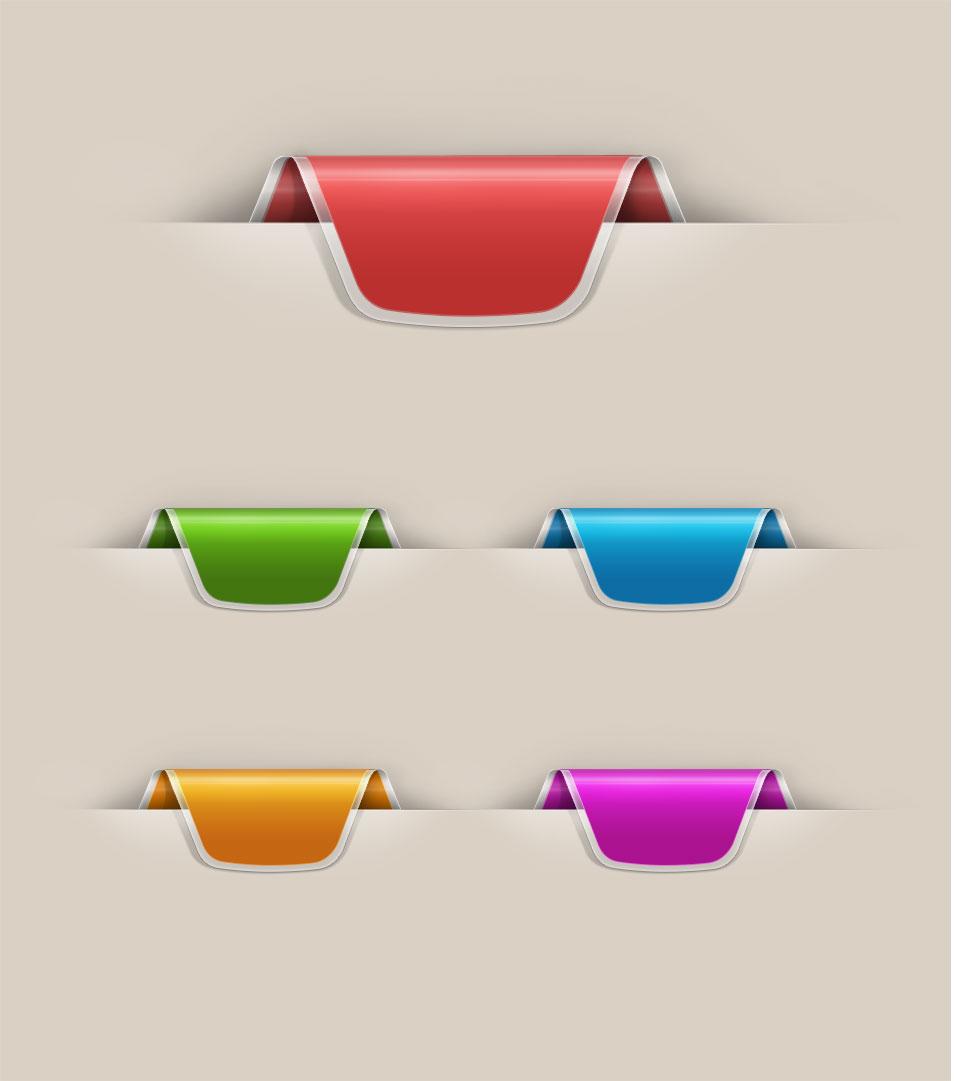 12 Web Ribbon PSD Images