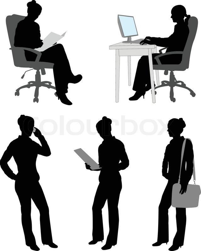 Business Woman at Desk Silhouette