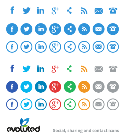 Contact and Social Media Icons