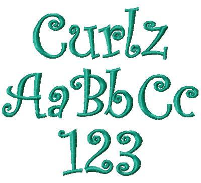7 Curlz Font Embroidery Design Images