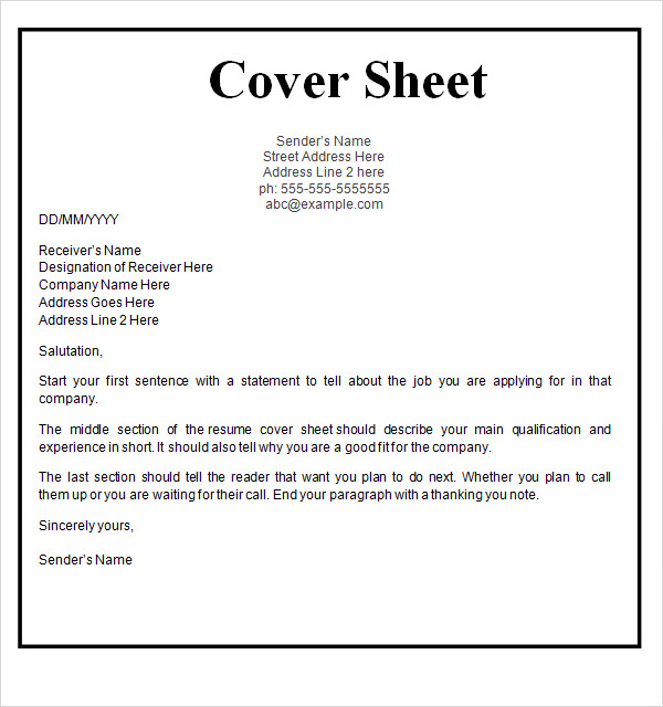 Free Cover Sheet For Resume  CityEsporaCo