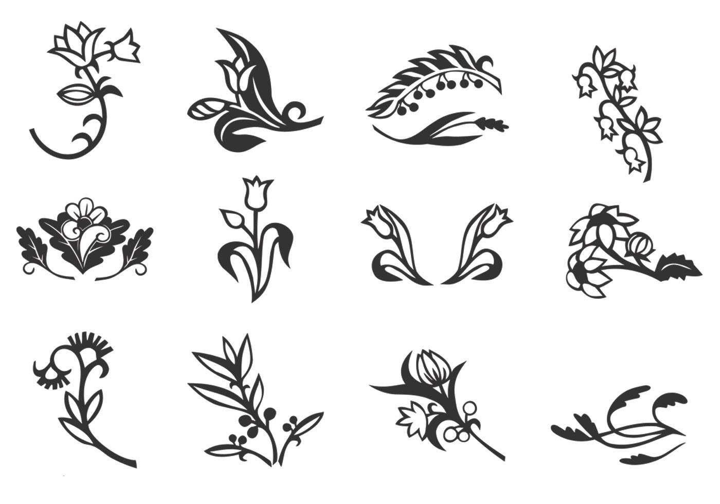 13 Floral Vector Ornament Set Images