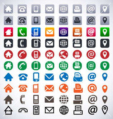 11 White Contact Icons Vector Business Cards Images