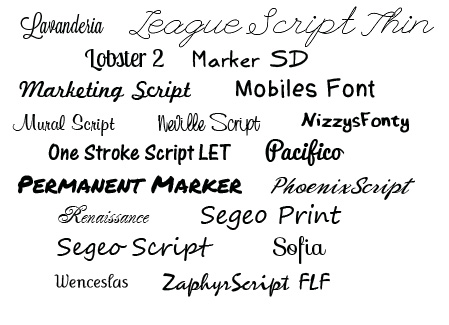 Free Handwriting Script Fonts