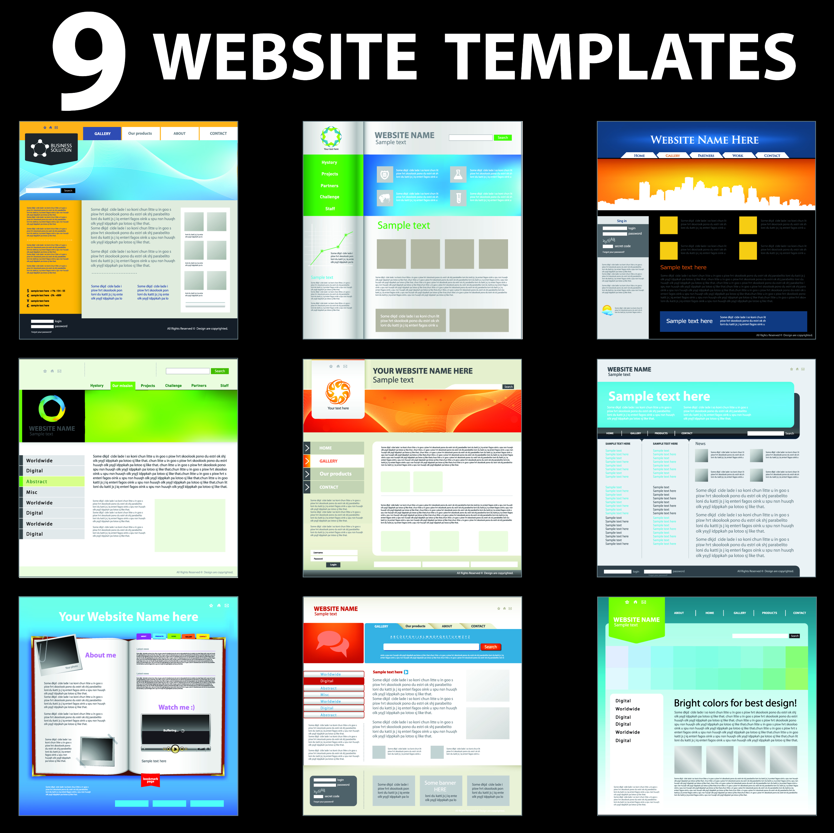 15 vector web design templates images header design Blueprint designer free
