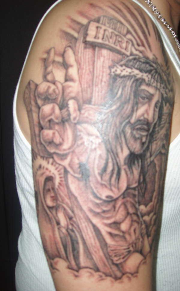 Jesus Cross Tattoo On Arm