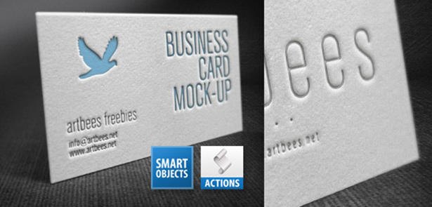 Letterpress Business Card Mockup Free