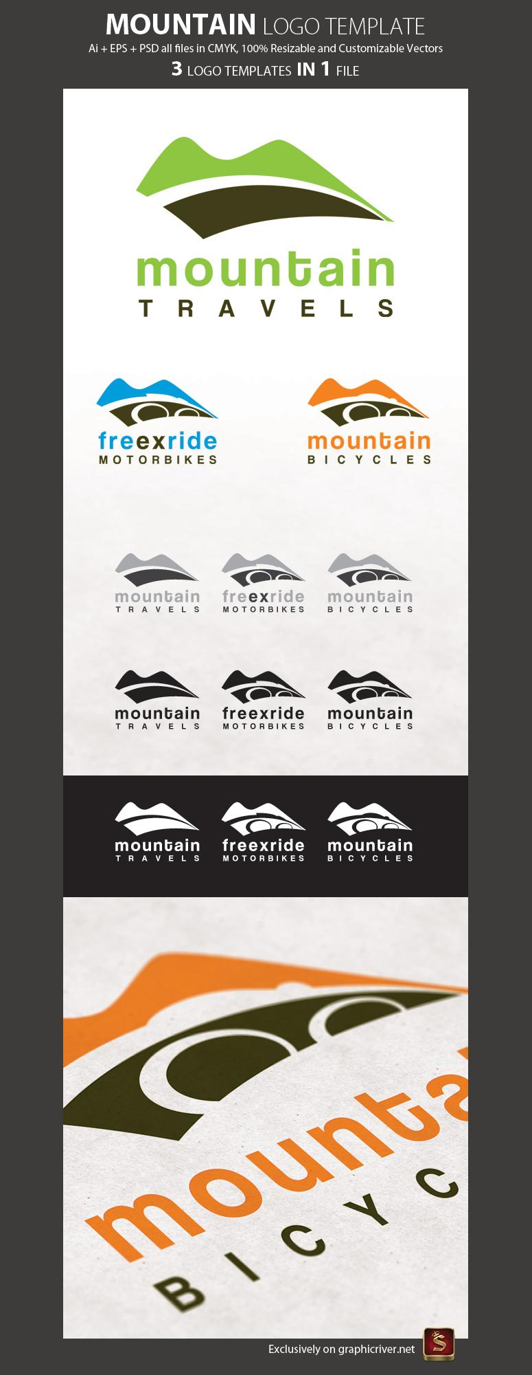 10 Mountain Logo PSD Images