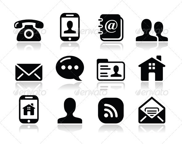 Resume Phone email Icons Black