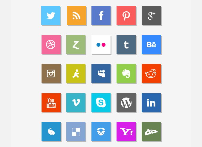14 Flat Square Social Media Icons Images